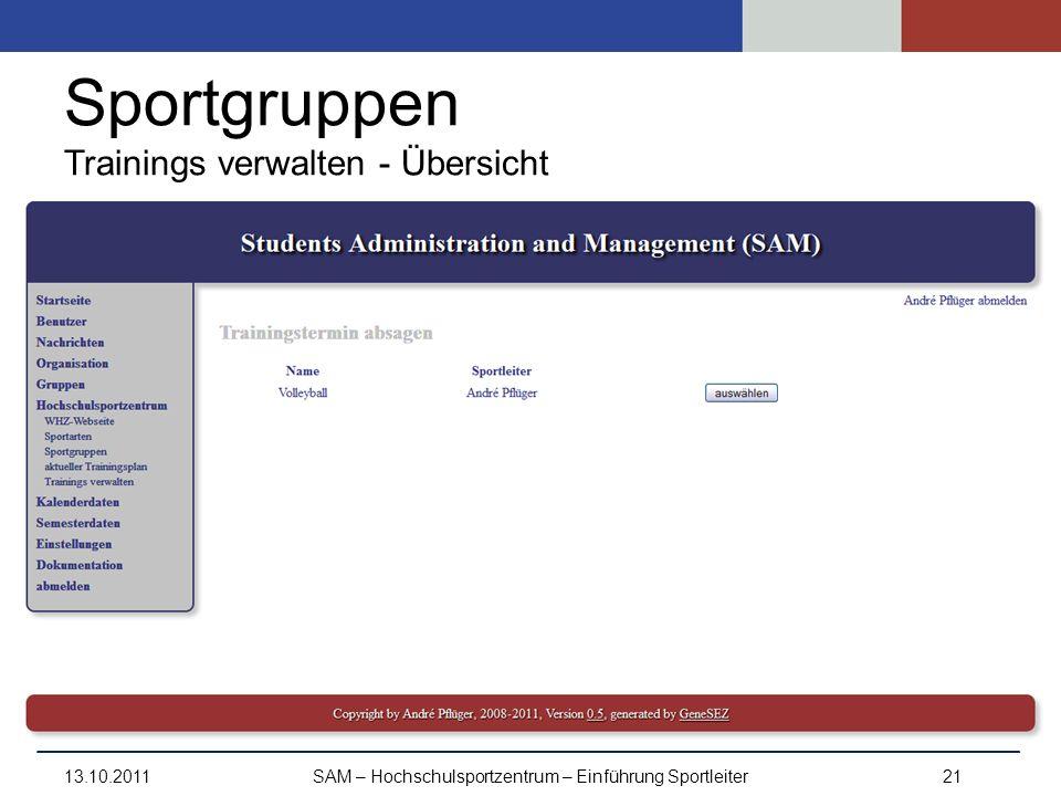 Sportgruppen Trainings verwalten - Übersicht 13.10.2011SAM – Hochschulsportzentrum – Einführung Sportleiter21