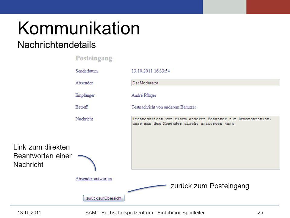 Kommunikation Nachrichtendetails 13.10.2011SAM – Hochschulsportzentrum – Einführung Sportleiter25 Link zum direkten Beantworten einer Nachricht zurück