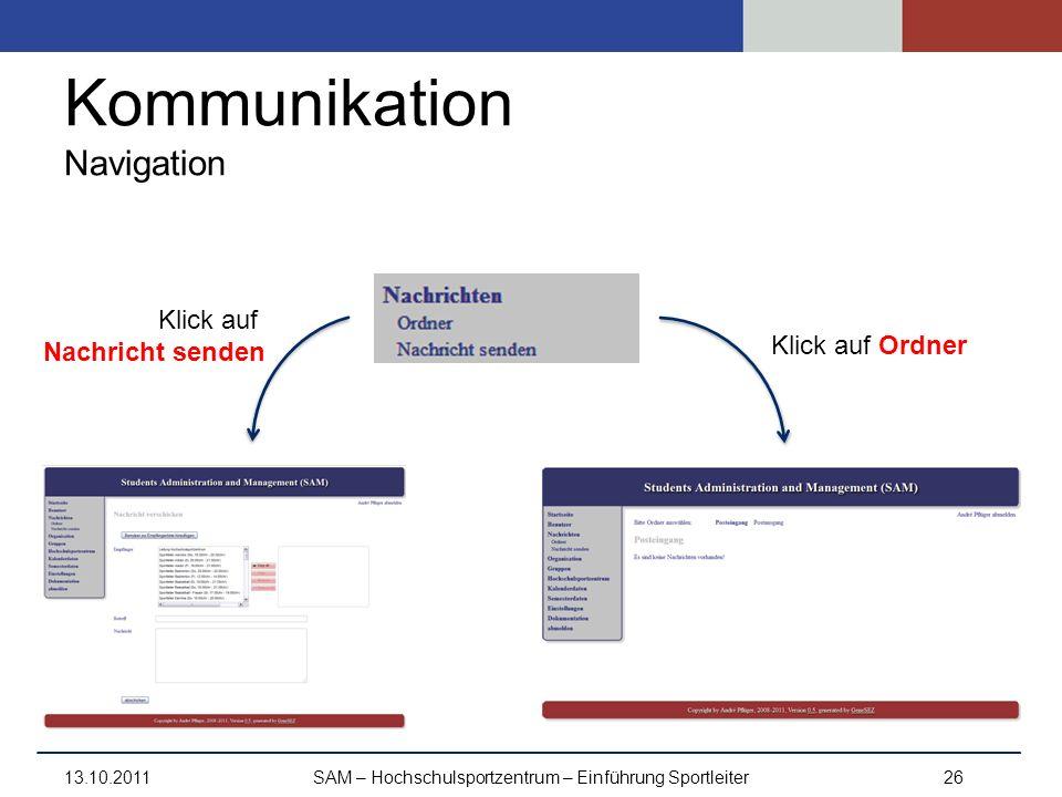 Kommunikation Navigation 13.10.2011SAM – Hochschulsportzentrum – Einführung Sportleiter26 Klick auf Ordner Klick auf Nachricht senden