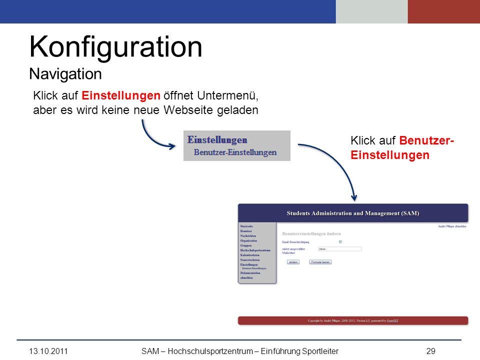 Konfiguration Navigation 13.10.2011SAM – Hochschulsportzentrum – Einführung Sportleiter29 Klick auf Benutzer- Einstellungen Klick auf Einstellungen öf