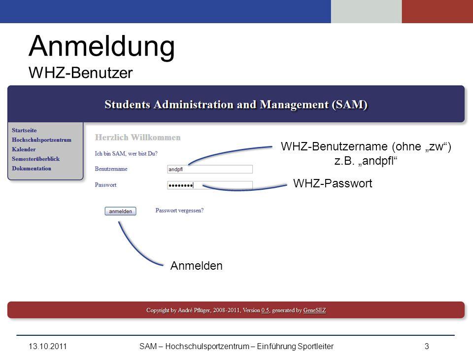Anmeldung WHZ-Benutzer 13.10.2011SAM – Hochschulsportzentrum – Einführung Sportleiter3 WHZ-Benutzername (ohne zw) z.B. andpfl WHZ-Passwort Anmelden