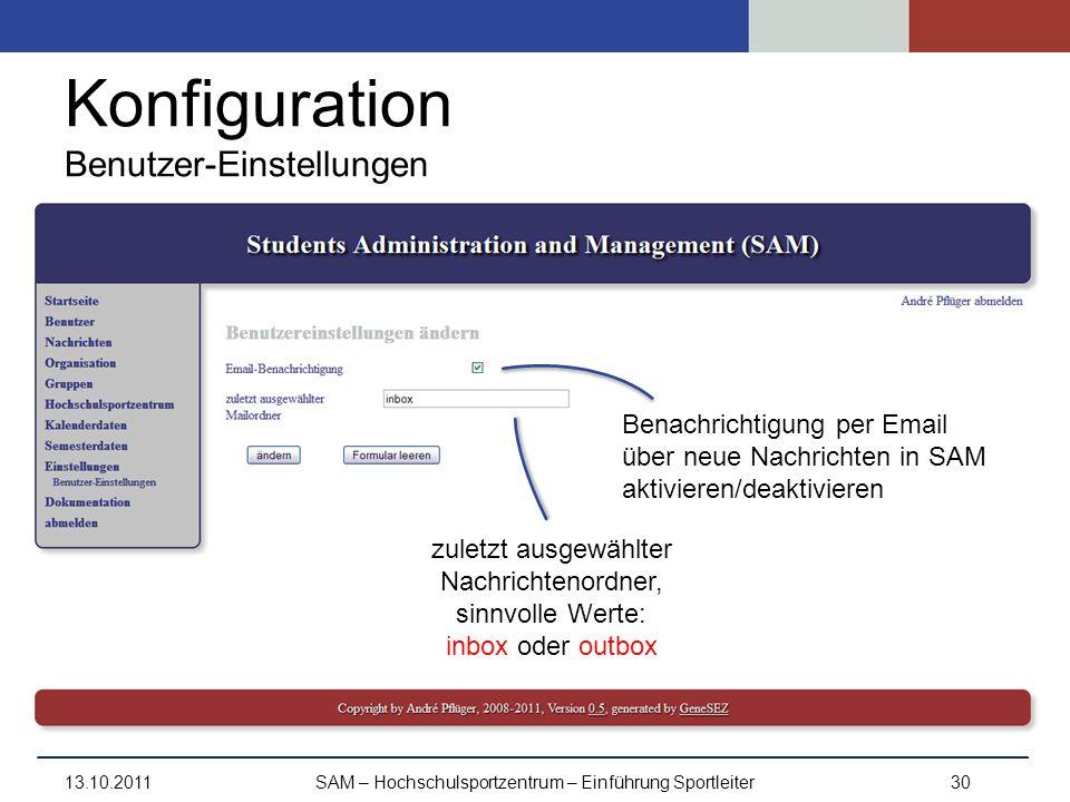 Konfiguration Benutzer-Einstellungen 13.10.2011SAM – Hochschulsportzentrum – Einführung Sportleiter30 Benachrichtigung per Email über neue Nachrichten