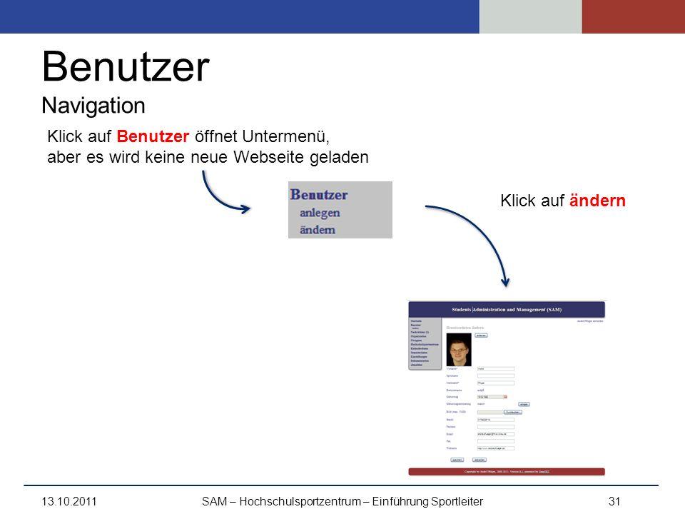 Benutzer Navigation 13.10.2011SAM – Hochschulsportzentrum – Einführung Sportleiter31 Klick auf ändern Klick auf Benutzer öffnet Untermenü, aber es wir