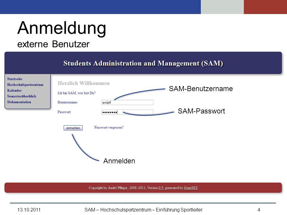 Anmeldung externe Benutzer 13.10.2011SAM – Hochschulsportzentrum – Einführung Sportleiter4 SAM-Benutzername SAM-Passwort Anmelden