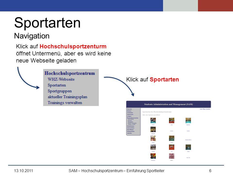Sportarten Navigation 13.10.2011SAM – Hochschulsportzentrum – Einführung Sportleiter6 Klick auf Hochschulsportzenturm öffnet Untermenü, aber es wird k