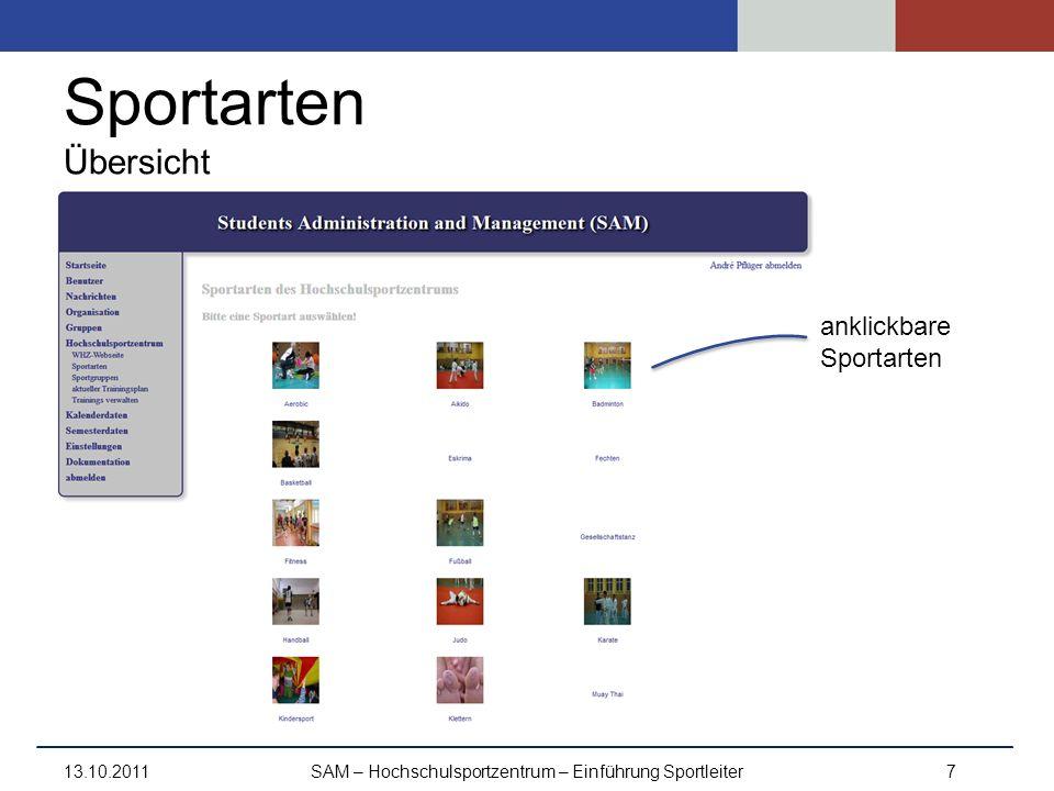 Sportarten Übersicht 13.10.2011SAM – Hochschulsportzentrum – Einführung Sportleiter7 anklickbare Sportarten