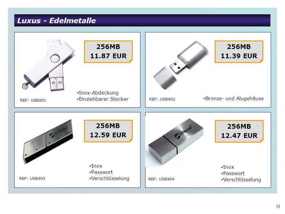 13 Luxus - Edelmetalle REF: USB901 REF: USB902 REF: USB903 REF: USB904 256MB 11.87 EUR Inox-Abdeckung Einziehbarer Stecker 256MB 11.39 EUR Inox Passwort Verschlüsselung 256MB 12.59 EUR 256MB 12.47 EUR Bronze- und Alugehäuse Inox Passwort Verschlüsselung