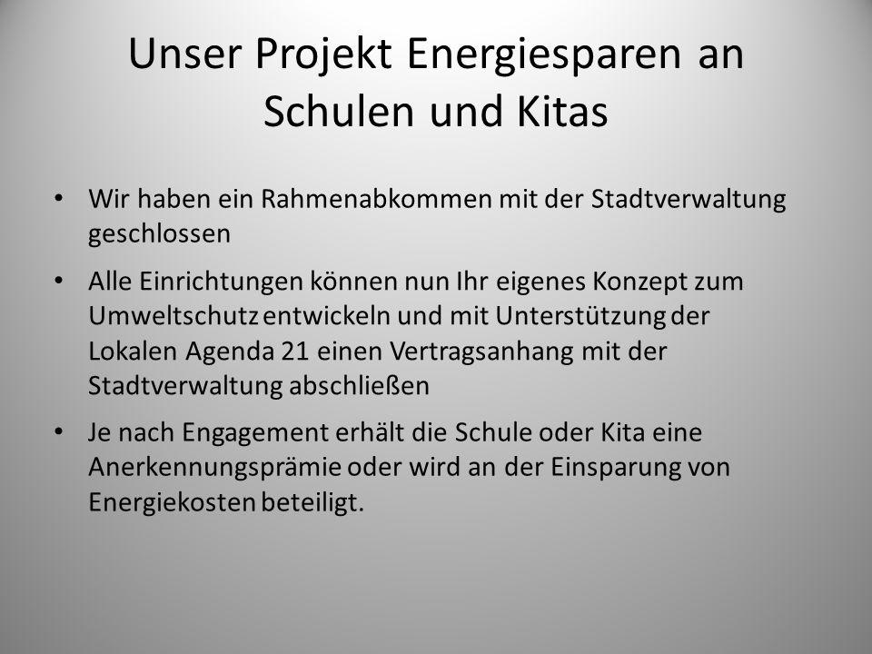 Unser Projekt Energiesparen an Schulen und Kitas Wir haben ein Rahmenabkommen mit der Stadtverwaltung geschlossen Alle Einrichtungen können nun Ihr ei