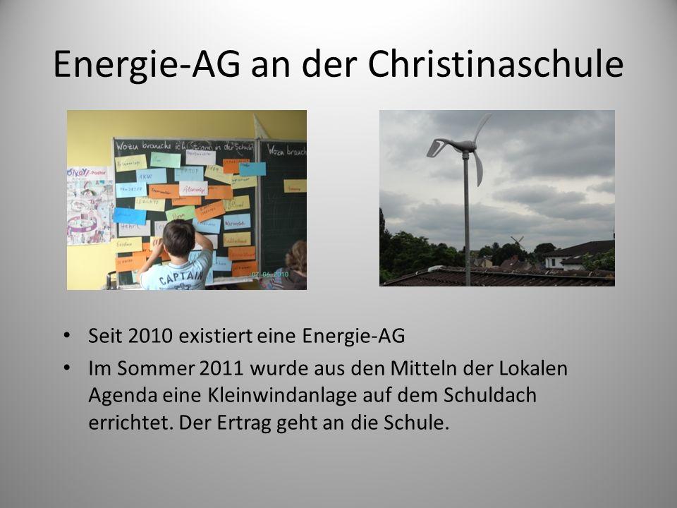 Energie-AG an der Christinaschule Seit 2010 existiert eine Energie-AG Im Sommer 2011 wurde aus den Mitteln der Lokalen Agenda eine Kleinwindanlage auf