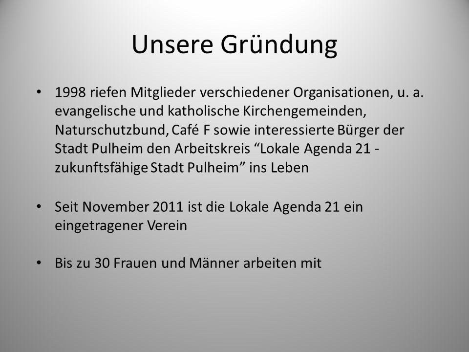 Unsere Gründung 1998 riefen Mitglieder verschiedener Organisationen, u. a. evangelische und katholische Kirchengemeinden, Naturschutzbund, Café F sowi