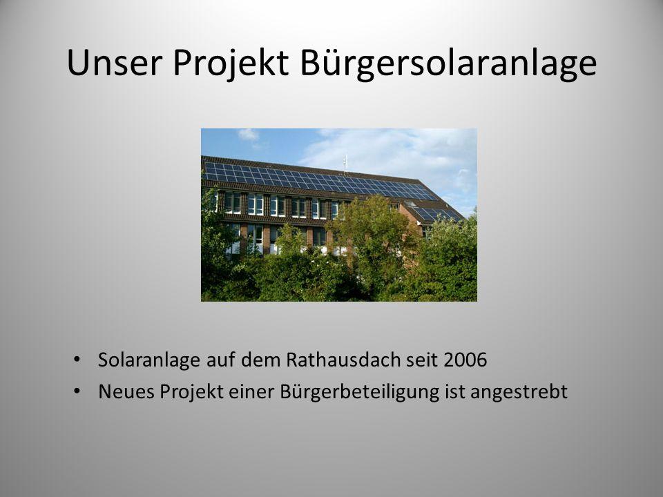 Unser Projekt Bürgersolaranlage Solaranlage auf dem Rathausdach seit 2006 Neues Projekt einer Bürgerbeteiligung ist angestrebt