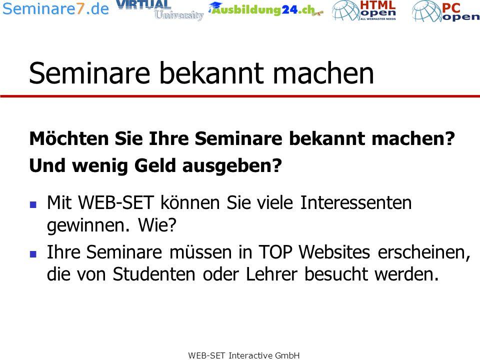 WEB-SET Interactive GmbH Verlinkung mit TOP Websites Die Inserate werden mit einem Klick automatisch bei folgenden TOP Websites angezeigt: hier