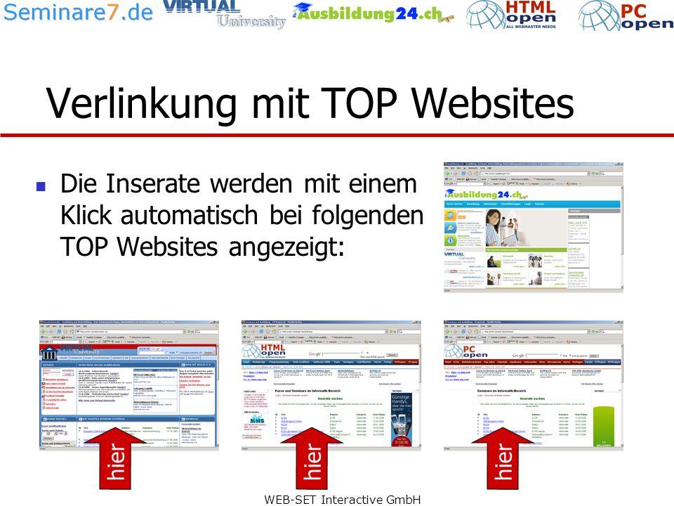 WEB-SET Interactive GmbH Beispiel: Virtual University Virtual University bietet News rund um die Ausbildung.