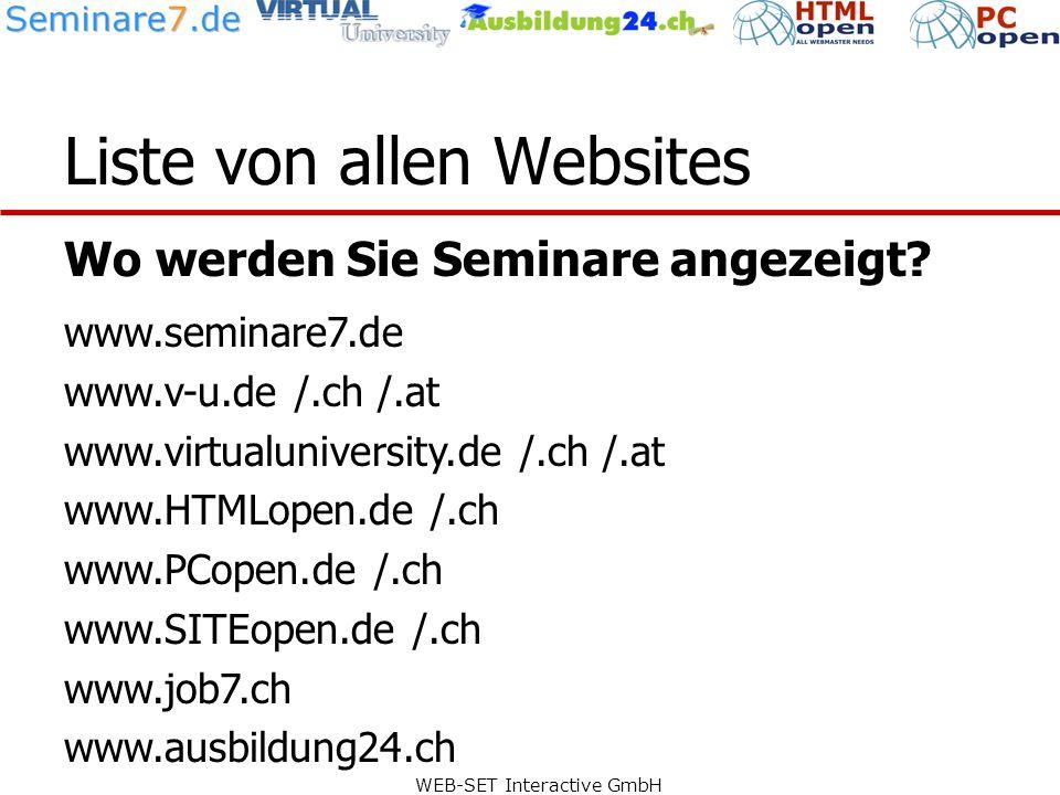 WEB-SET Interactive GmbH Liste von allen Websites Wo werden Sie Seminare angezeigt.