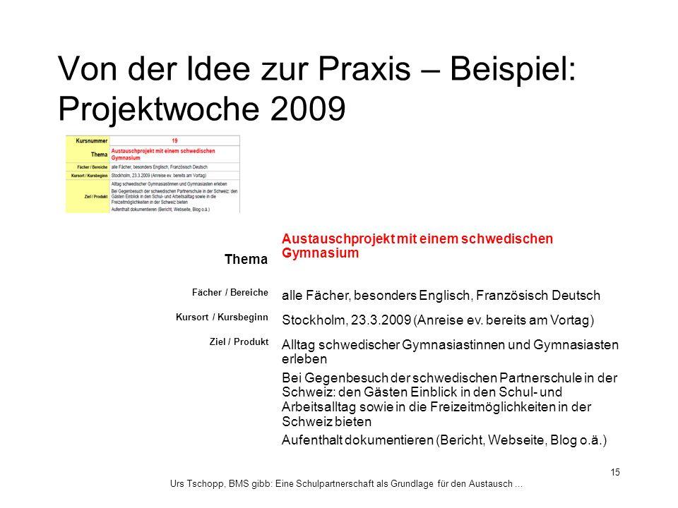 Urs Tschopp, BMS gibb: Eine Schulpartnerschaft als Grundlage für den Austausch... 15 Von der Idee zur Praxis – Beispiel: Projektwoche 2009 Thema Austa