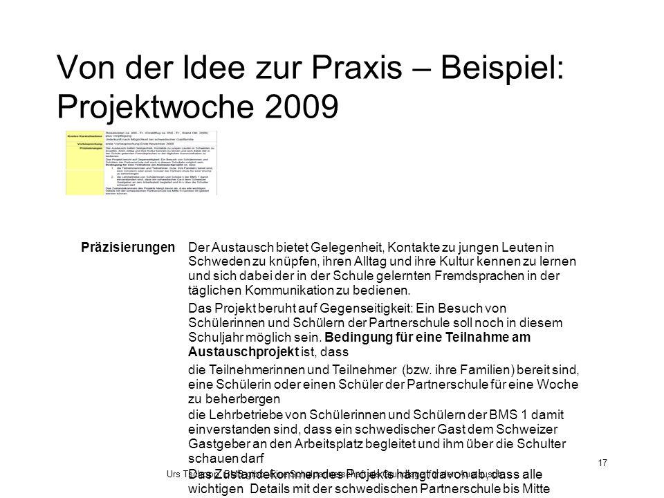 Urs Tschopp, BMS gibb: Eine Schulpartnerschaft als Grundlage für den Austausch... 17 Von der Idee zur Praxis – Beispiel: Projektwoche 2009 Präzisierun