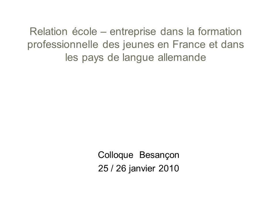 Relation école – entreprise dans la formation professionnelle des jeunes en France et dans les pays de langue allemande Colloque Besançon 25 / 26 janv