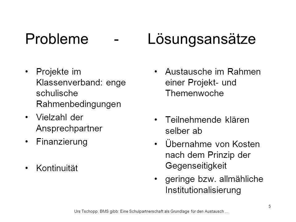 Urs Tschopp, BMS gibb: Eine Schulpartnerschaft als Grundlage für den Austausch... 5 Probleme - Lösungsansätze Projekte im Klassenverband: enge schulis