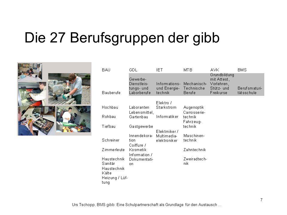 Urs Tschopp, BMS gibb: Eine Schulpartnerschaft als Grundlage für den Austausch... 7 Die 27 Berufsgruppen der gibb