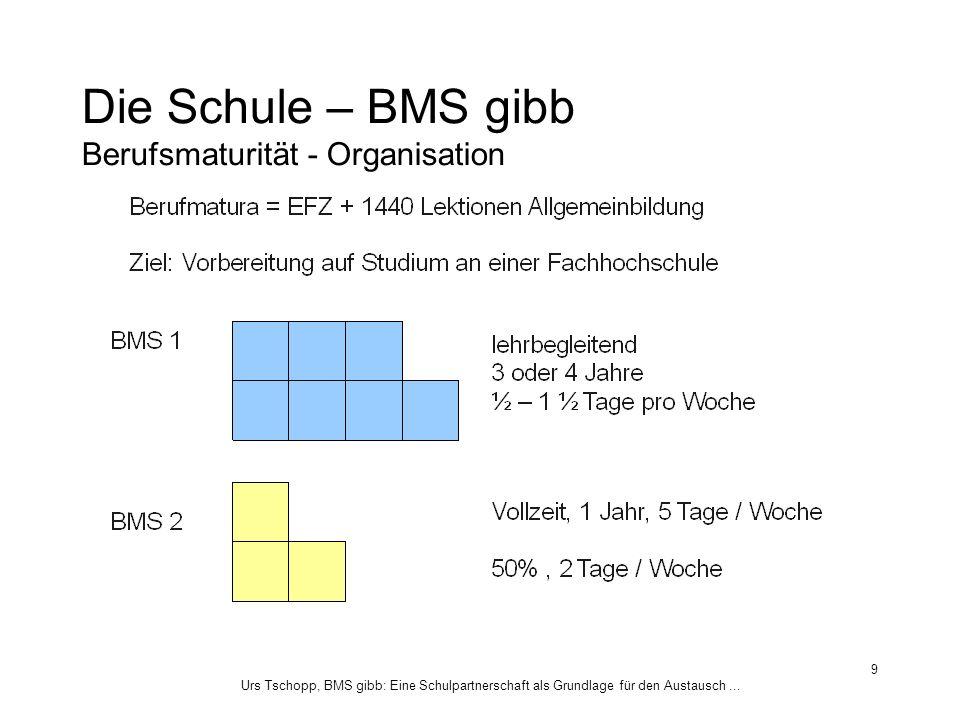 Urs Tschopp, BMS gibb: Eine Schulpartnerschaft als Grundlage für den Austausch... 9 Die Schule – BMS gibb Berufsmaturität - Organisation
