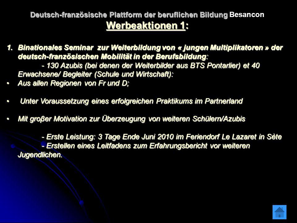 Deutsch-französische Plattform der beruflichen Bildung Deutsch-französische Plattform der beruflichen Bildung Besancon Werbeaktionen 1: 1.Binationales Seminar zur Weiterbildung von « jungen Multiplikatoren » der deutsch-französischen Mobilität in der Berufsbildung: - 130 Azubis (bei denen der Weiterbilder aus BTS Pontarlier) et 40 Erwachsene/ Begleiter (Schule und Wirtschaft): - 130 Azubis (bei denen der Weiterbilder aus BTS Pontarlier) et 40 Erwachsene/ Begleiter (Schule und Wirtschaft): Aus allen Regionen von Fr und D;Aus allen Regionen von Fr und D; Unter Voraussetzung eines erfolgreichen Praktikums im Partnerland Unter Voraussetzung eines erfolgreichen Praktikums im Partnerland Mit groβer Motivation zur Überzeugung von weiteren Schülern/AzubisMit groβer Motivation zur Überzeugung von weiteren Schülern/Azubis - Erste Leistung: 3 Tage Ende Juni 2010 im Feriendorf Le Lazaret in Sète - Erste Leistung: 3 Tage Ende Juni 2010 im Feriendorf Le Lazaret in Sète - Erstellen eines Leitfadens zum Erfahrungsbericht vor weiteren Jugendlichen.