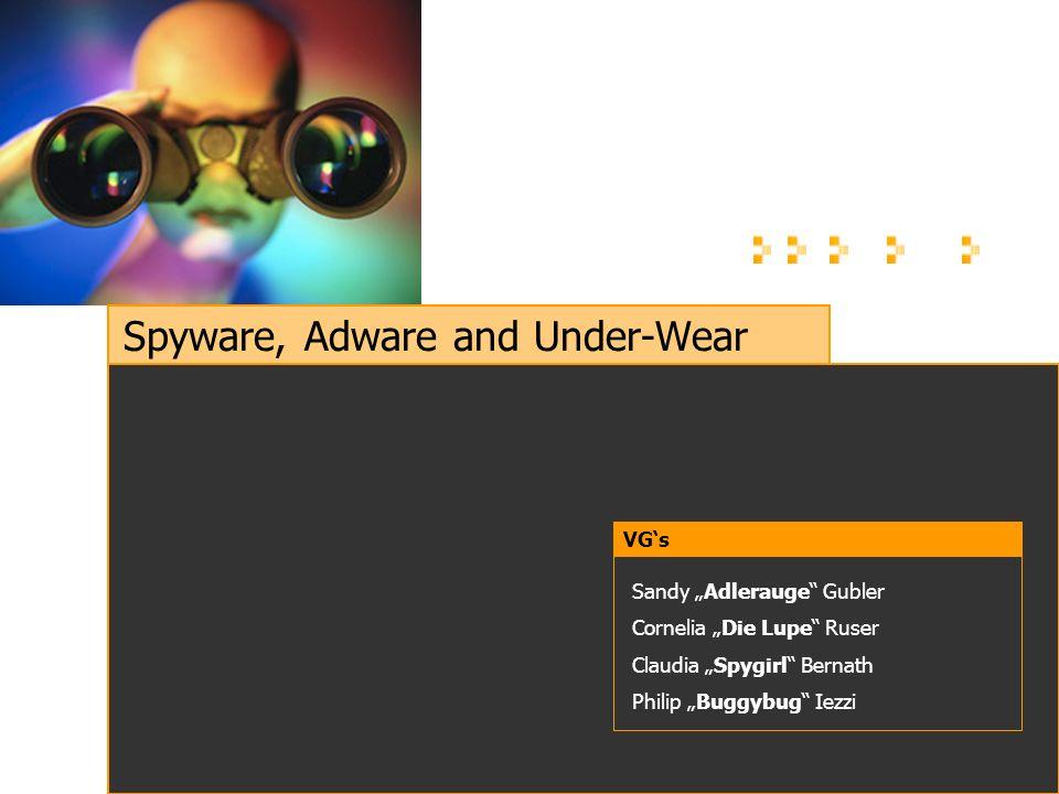 Spyware, Adware and Under-Wear VGs Sandy Adlerauge Gubler Cornelia Die Lupe Ruser Claudia Spygirl Bernath Philip Buggybug Iezzi