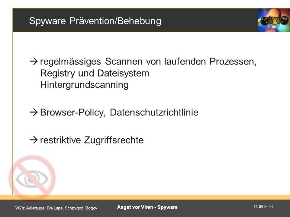 14.04.2003 VGs: Adlerauge, Die Lupe, Schpygörl, Böggy Angst vor Viren - Spyware Spyware Prävention/Behebung regelmässiges Scannen von laufenden Prozessen, Registry und Dateisystem Hintergrundscanning Browser-Policy, Datenschutzrichtlinie restriktive Zugriffsrechte