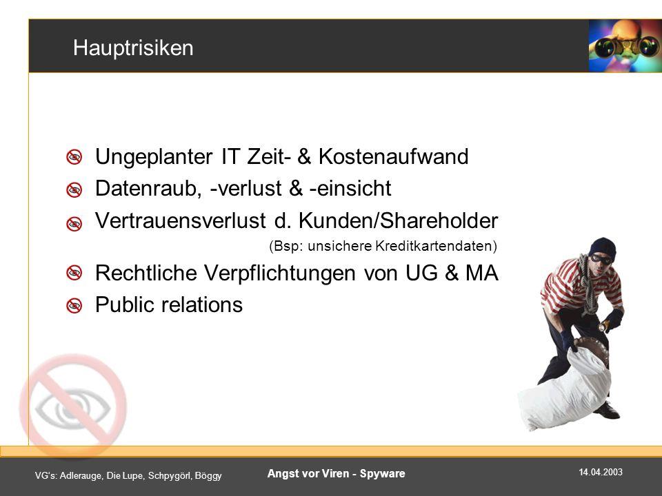 14.04.2003 VGs: Adlerauge, Die Lupe, Schpygörl, Böggy Angst vor Viren - Spyware Hauptrisiken Ungeplanter IT Zeit- & Kostenaufwand Datenraub, -verlust & -einsicht Vertrauensverlust d.