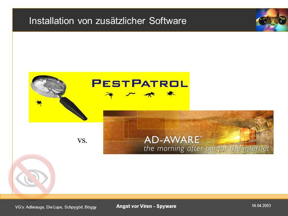 14.04.2003 VGs: Adlerauge, Die Lupe, Schpygörl, Böggy Angst vor Viren - Spyware Installation von zusätzlicher Software vs.