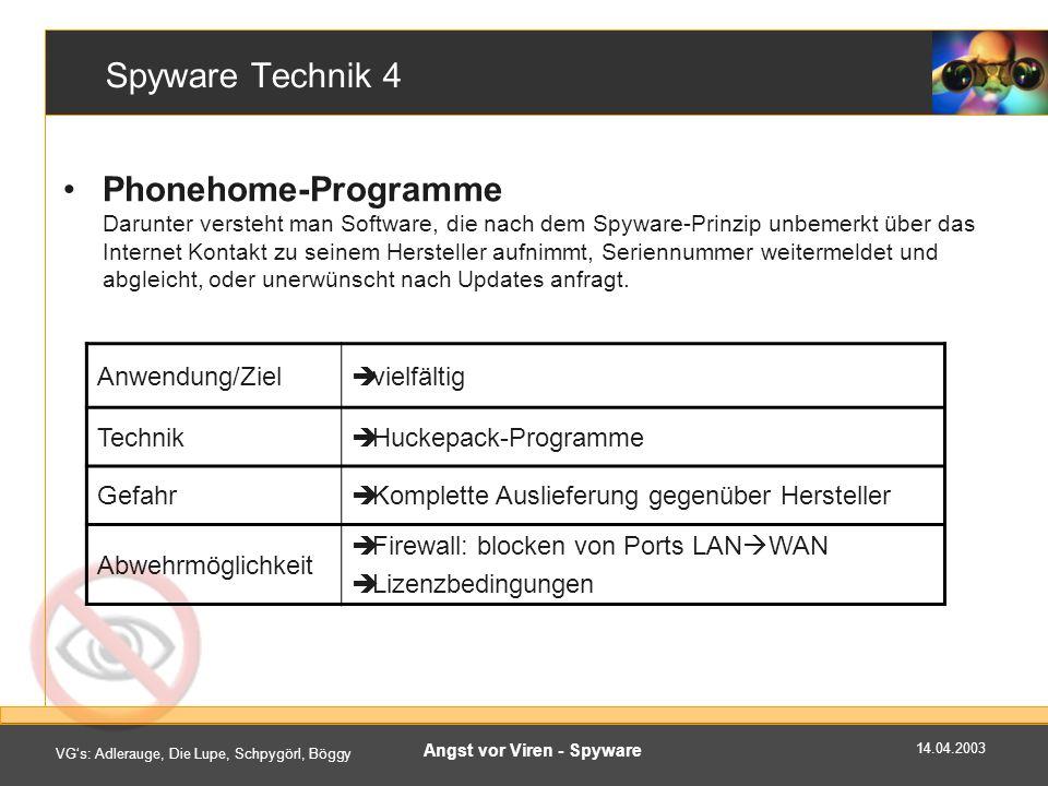 14.04.2003 VGs: Adlerauge, Die Lupe, Schpygörl, Böggy Angst vor Viren - Spyware PestPatrol Corporate Edition