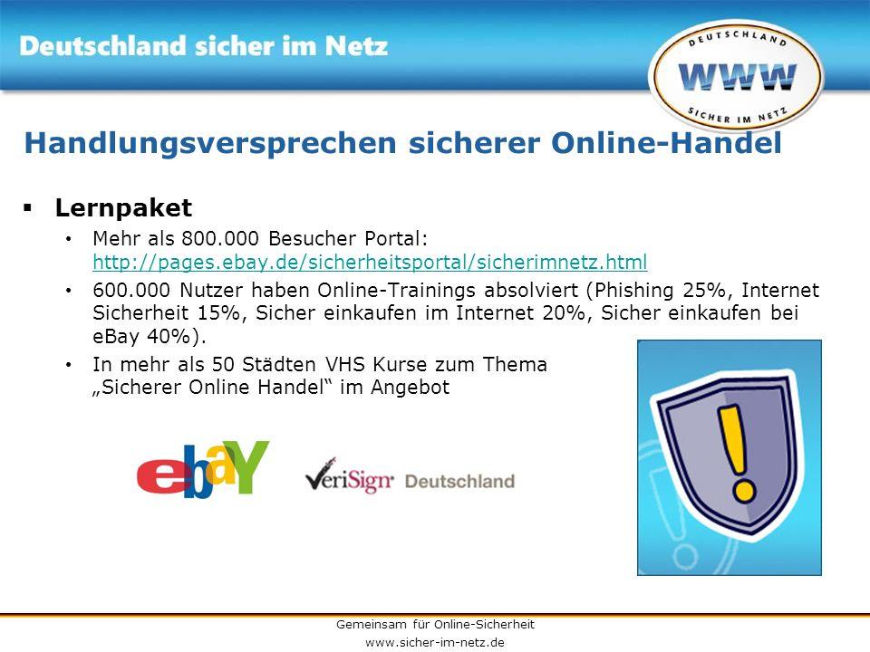 Gemeinsam für Online-Sicherheit www.sicher-im-netz.de Handlungsversprechen sicherer Online-Handel Lernpaket Mehr als 800.000 Besucher Portal: http://p