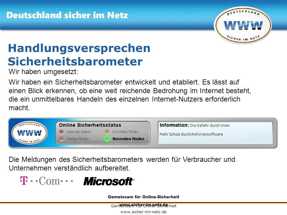 Gemeinsam für Online-Sicherheit www.sicher-im-netz.de Gemeinsam für Online-Sicherheit www.sicher-im-netz.de Handlungsversprechen Sicherheitsbarometer