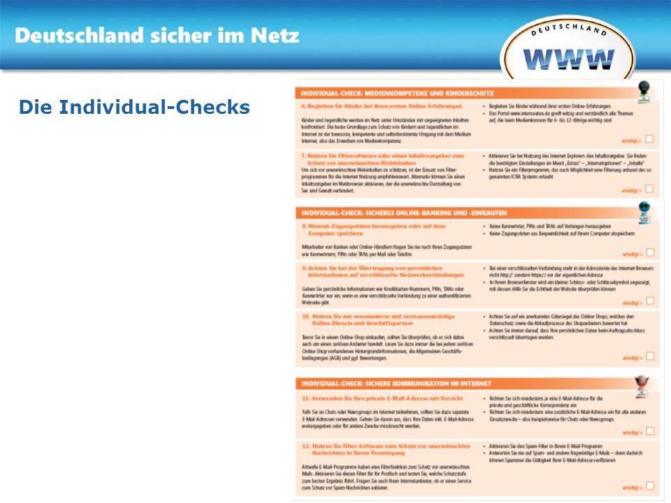Gemeinsam für Online-Sicherheit www.sicher-im-netz.de Die Individual-Checks