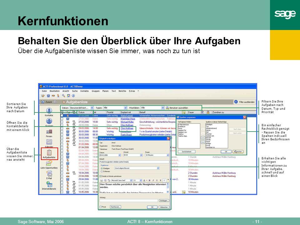 - 11 -ACT! 8 – KernfunktionenSage Software, Mai 2006 Kernfunktionen Behalten Sie den Überblick über Ihre Aufgaben Über die Aufgabenliste wissen Sie im