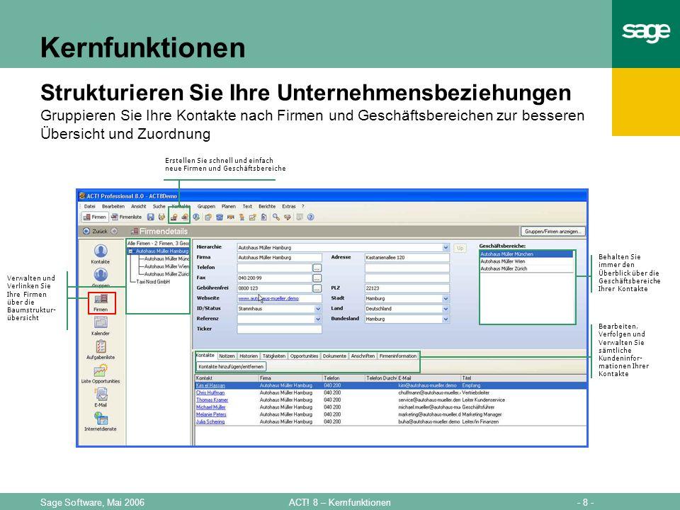 - 8 -ACT! 8 – KernfunktionenSage Software, Mai 2006 Kernfunktionen Strukturieren Sie Ihre Unternehmensbeziehungen Gruppieren Sie Ihre Kontakte nach Fi