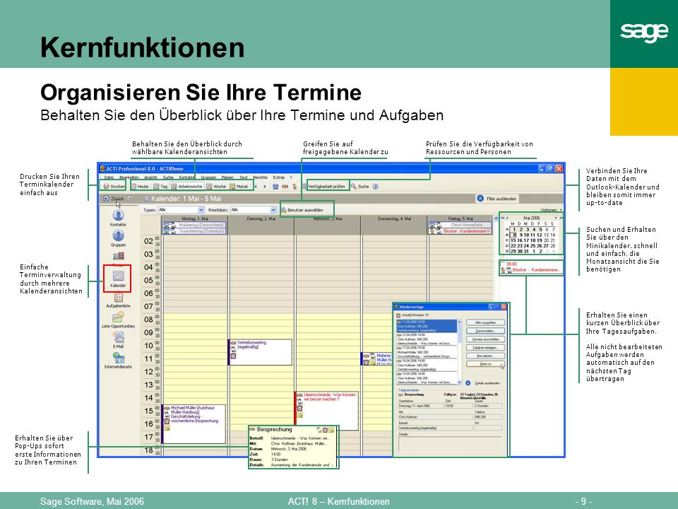 - 9 -ACT! 8 – KernfunktionenSage Software, Mai 2006 Kernfunktionen Organisieren Sie Ihre Termine Behalten Sie den Überblick über Ihre Termine und Aufg