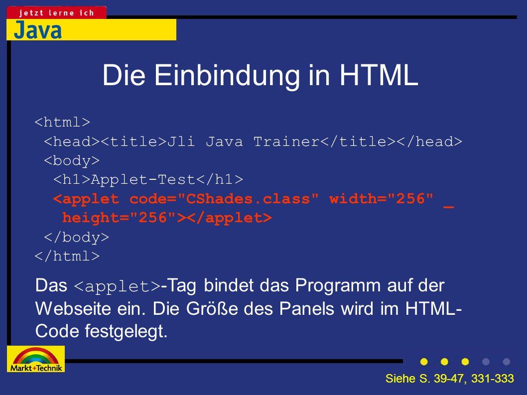 Die Einbindung in HTML Jli Java Trainer Applet-Test <applet code=
