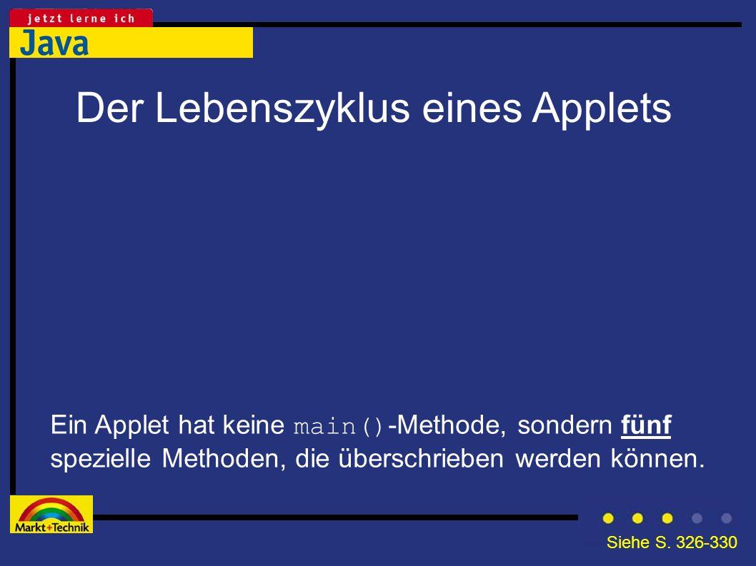Der Lebenszyklus eines Applets Ein Applet hat keine main() -Methode, sondern fünf spezielle Methoden, die überschrieben werden können. Siehe S. 326-33