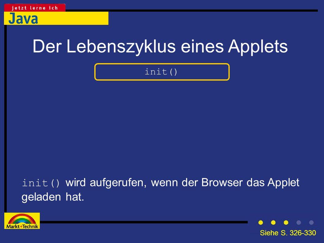 Der Lebenszyklus eines Applets init() init() wird aufgerufen, wenn der Browser das Applet geladen hat. Siehe S. 326-330