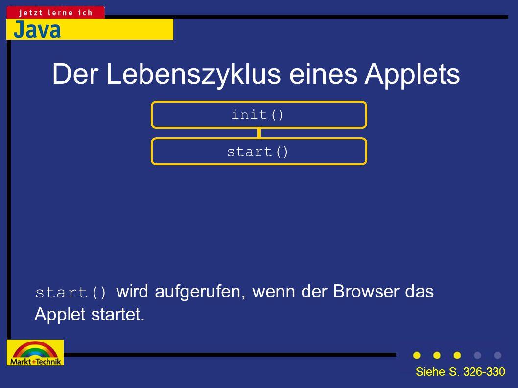 Der Lebenszyklus eines Applets init() start() wird aufgerufen, wenn der Browser das Applet startet. start() Siehe S. 326-330
