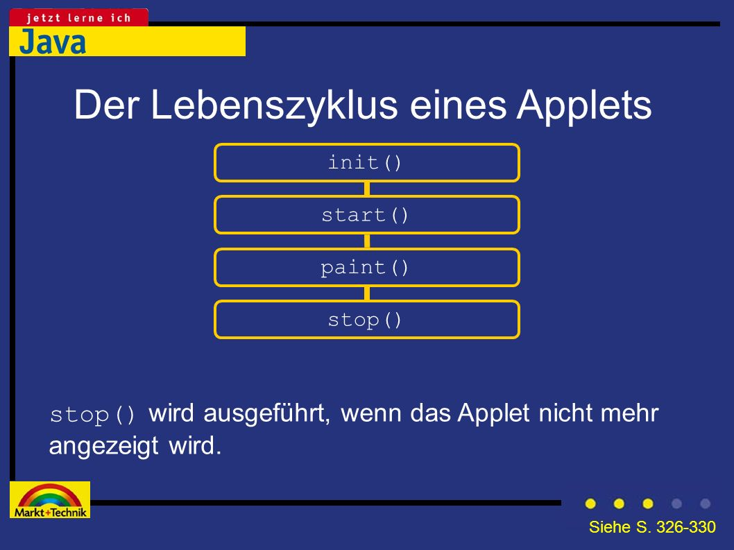 Der Lebenszyklus eines Applets init() stop() wird ausgeführt, wenn das Applet nicht mehr angezeigt wird. start() paint() stop() Siehe S. 326-330