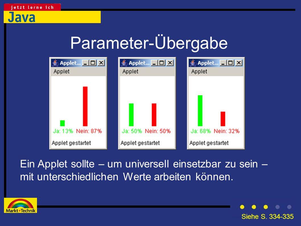 Parameter-Übergabe Ein Applet sollte – um universell einsetzbar zu sein – mit unterschiedlichen Werte arbeiten können. Siehe S. 334-335