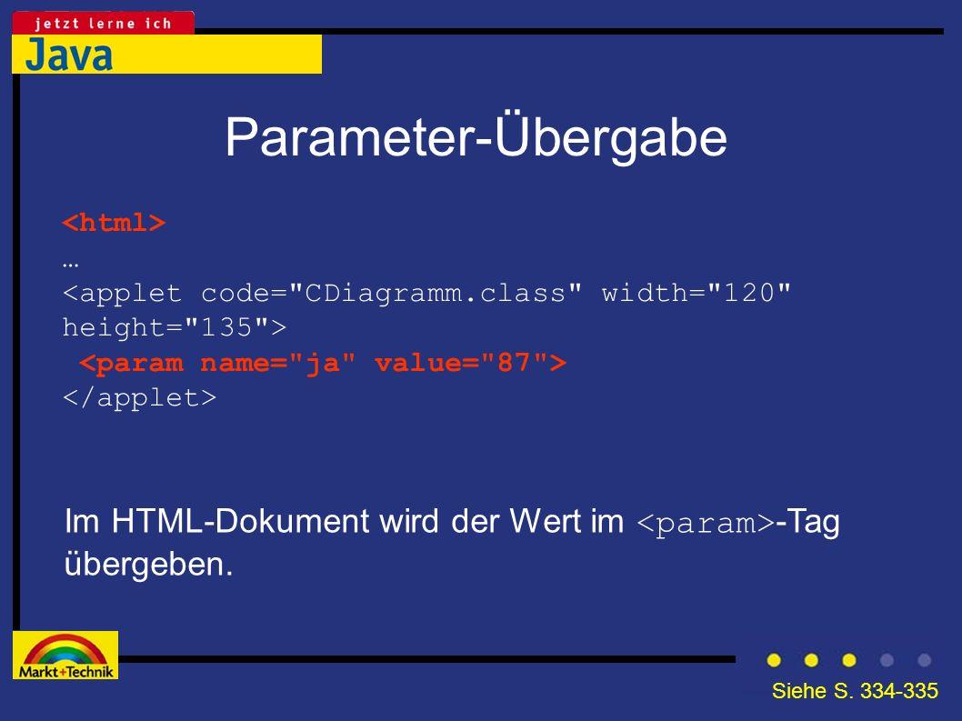 Parameter-Übergabe Im HTML-Dokument wird der Wert im -Tag übergeben. … Siehe S. 334-335