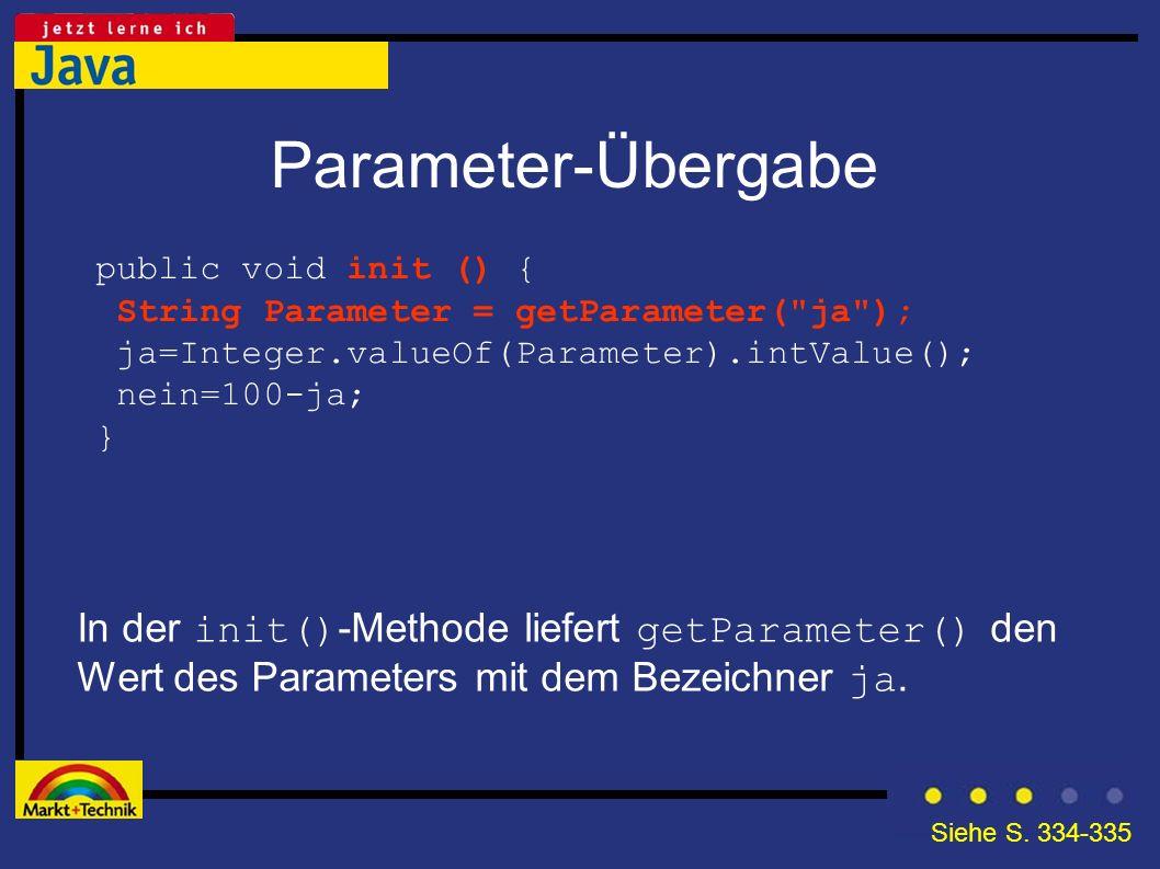 Parameter-Übergabe In der init() -Methode liefert getParameter() den Wert des Parameters mit dem Bezeichner ja. public void init () { String Parameter