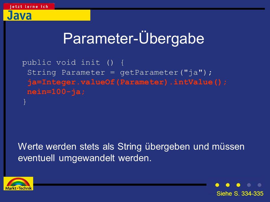 Parameter-Übergabe Werte werden stets als String übergeben und müssen eventuell umgewandelt werden. public void init () { String Parameter = getParame