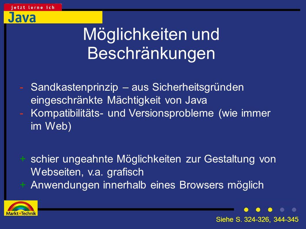 Möglichkeiten und Beschränkungen +schier ungeahnte Möglichkeiten zur Gestaltung von Webseiten, v.a. grafisch +Anwendungen innerhalb eines Browsers mög