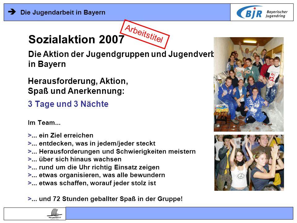 Die Jugendarbeit in Bayern Herausforderung, Aktion, Spaß und Anerkennung: 3 Tage und 3 Nächte Im Team... >... ein Ziel erreichen >... entdecken, was i