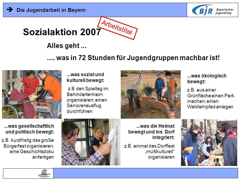 Die Jugendarbeit in Bayern...was ökologisch bewegt: z.B. aus einer Grünfläche einen Park machen; einen Waldlehrpfad anlegen...was gesellschaftlich und