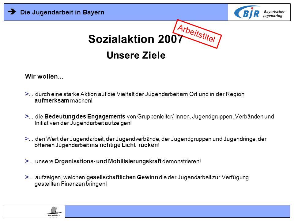 Die Jugendarbeit in Bayern Sozialaktion 2007 Unsere Chance Arbeitstitel Unsere Chance nutzen > starke öffentliche Aufmerksamkeit wird die Aktion in Bayern begleiten Radio Bayern3 72 Stunden live dabei, TV, lokale / regionale / überregionale Presse, Internet,...