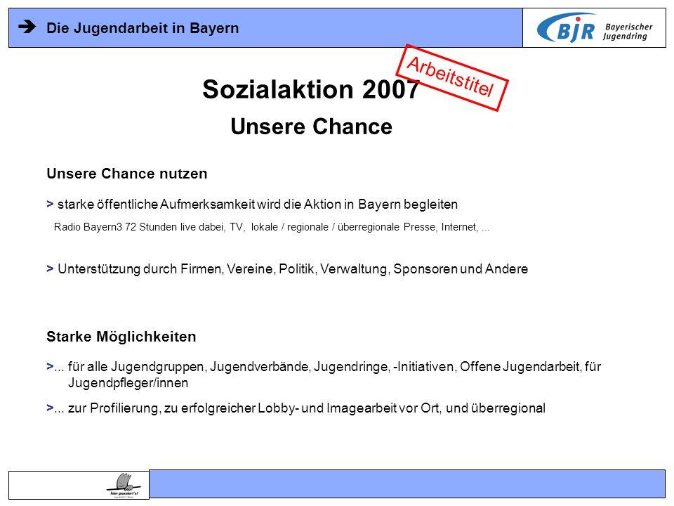 Die Jugendarbeit in Bayern Sozialaktion 2007 Zeitrahmen Frühjahr 2006 -Erstinformation, Motivation, Organisationsaufbau Sommer 2006 Wir informieren auf allen Ebenen, wir optimieren die Projektidee, Wir bauen die Organisationsstruktur auf: Ideen erwünscht Herbst 20062.